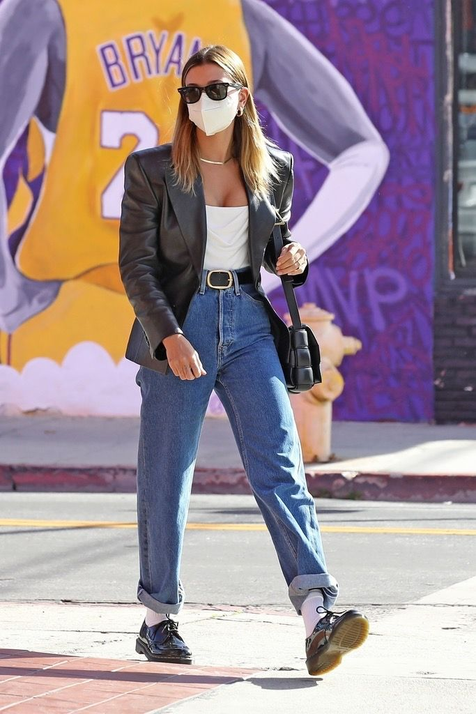 Celebrity Outfits Spring 2021: Hailey Bieber wears a leather blazer and jeans