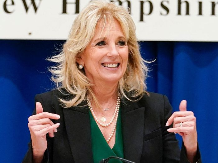 Jill Biden wore a pearl-embellished face mask