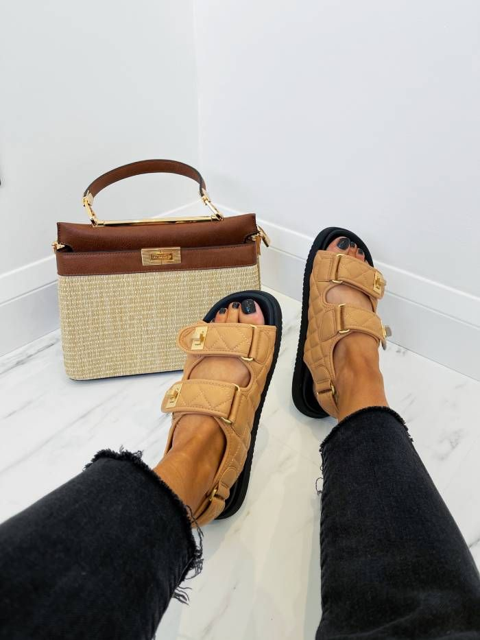 Dune London's camel Lockstockk sandals with their summery Ducies handbag.