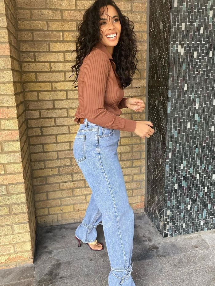 controversial jean trends 2021: rochelle humes in ankle-tie jeans