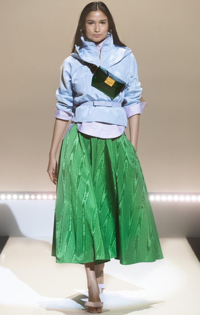 spring summer colour trends 2021: green skirt at brandon maxwell
