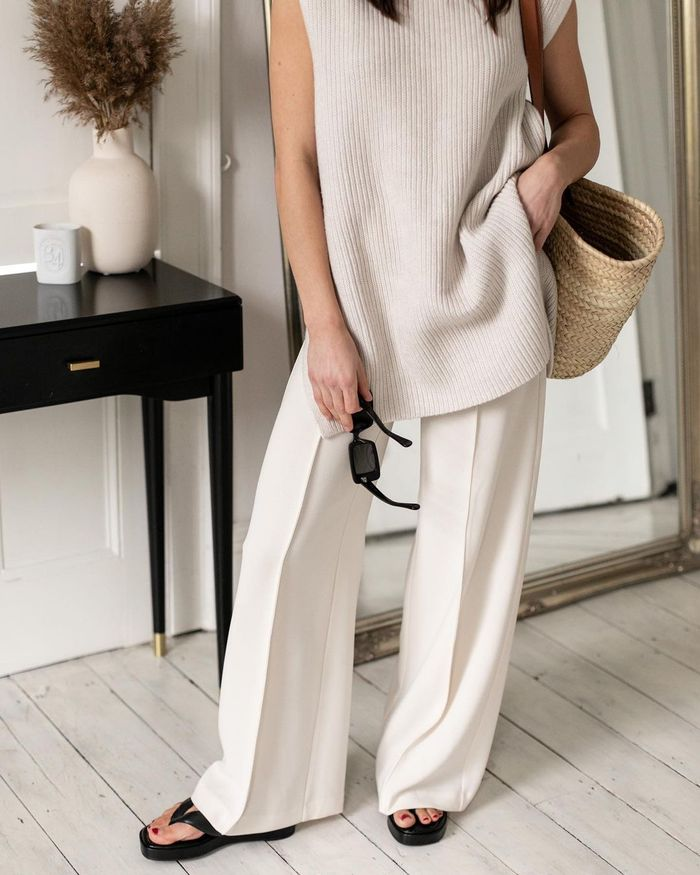 Trouser trends 2021: beige Mango jogging bottoms