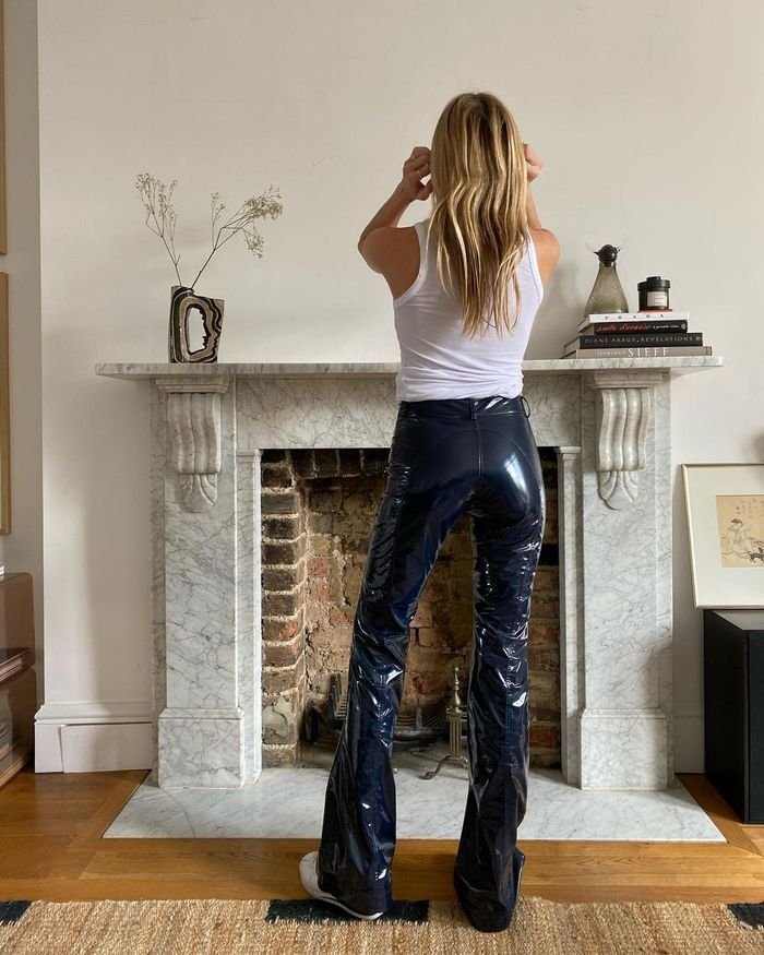 Trouser trends 2021: vinyl trousers and vest top
