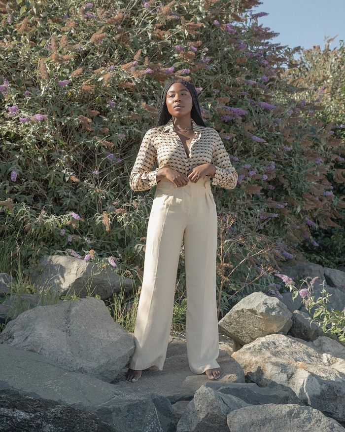 Trouser trends 2021: beige relaxed suit trousers