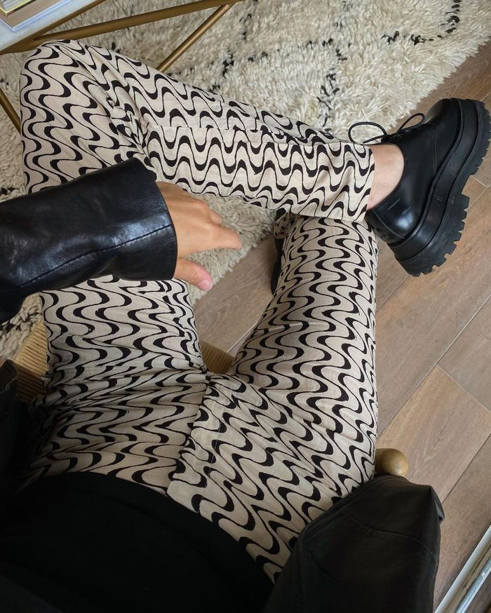 best printed jeans: wiggly jeans and chunky shoes