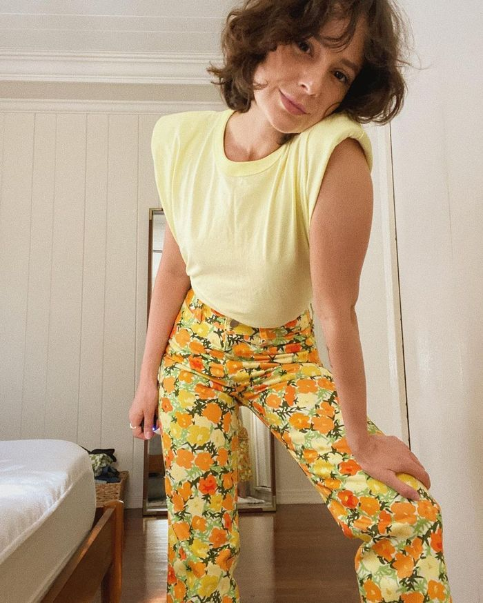 best printed jeans: floral orange and yellow jeans