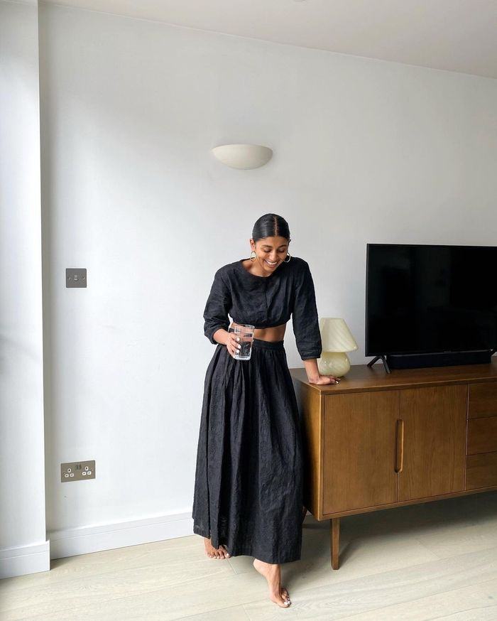 Skirt and Top Sets: @monikh wears a black cotton skirt and top set