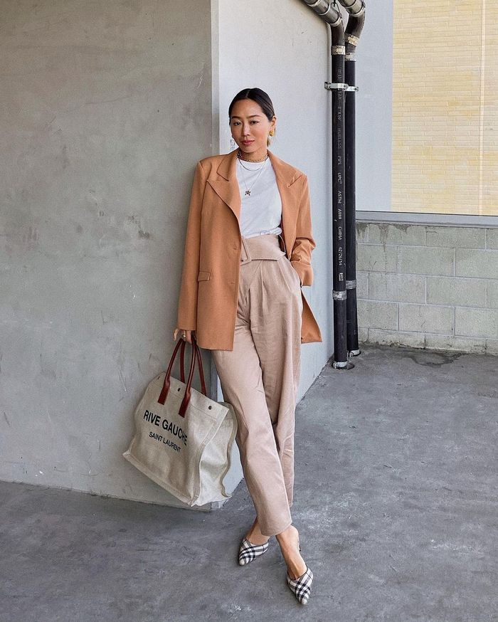 Spring Blazer Outfits: @aimeesong in a rust blazer