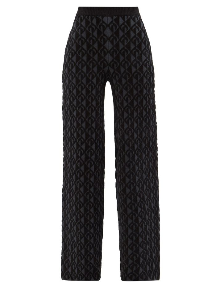 Marine Serre Lozenge Wide-Leg Trousers