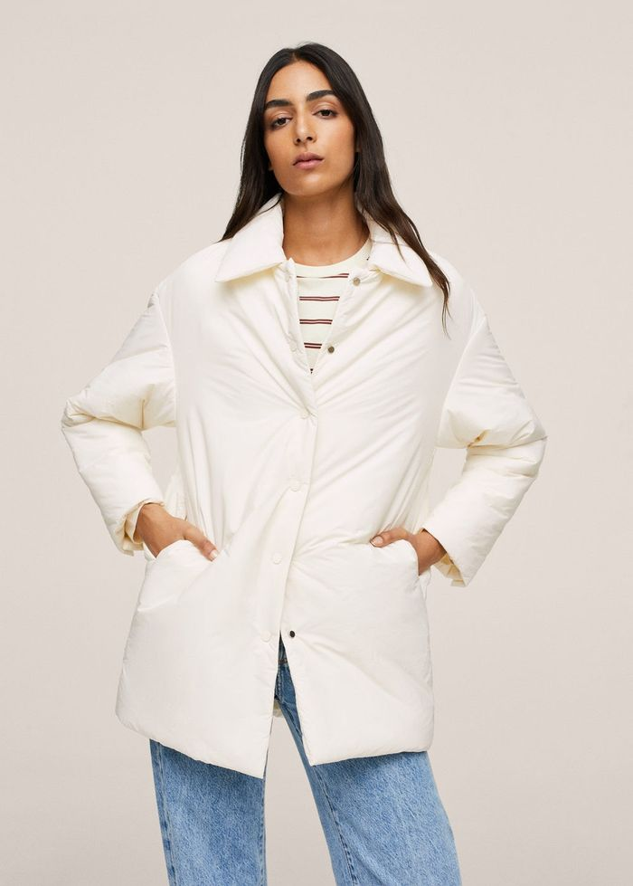 Mango Quilted Buttoned Coat