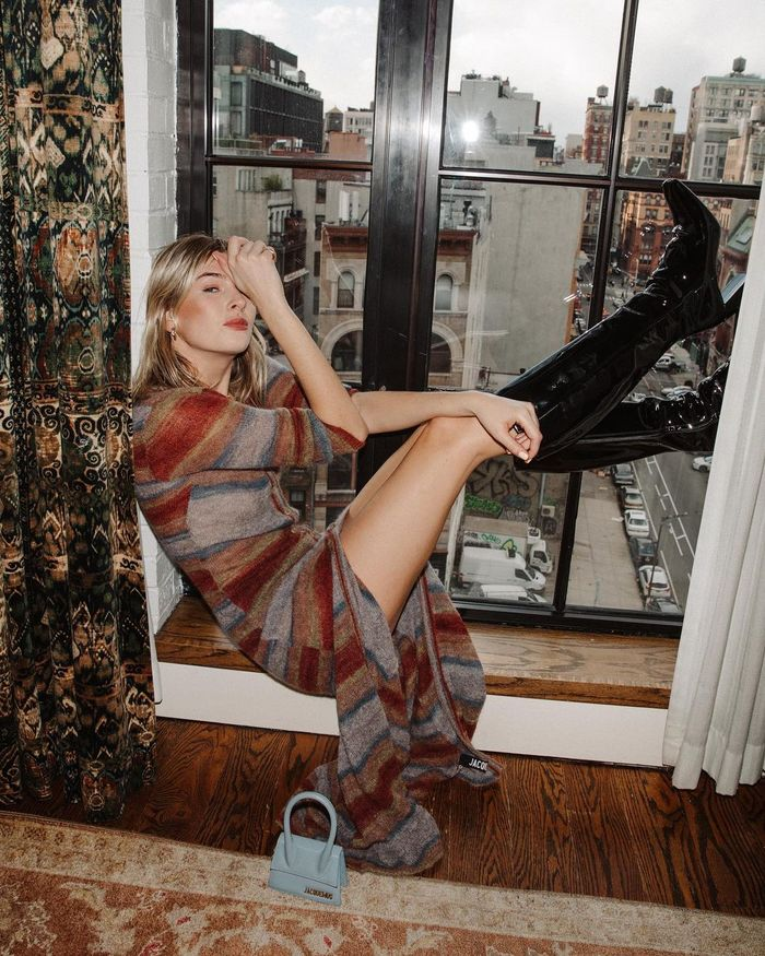 best rental fashion sites and apps: Camille Charrière in a Jacquemus dress rented from By Rotation