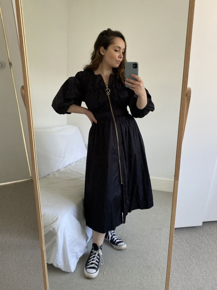 what trainers to wear with dresses: puff sleeve dress with high-top converse