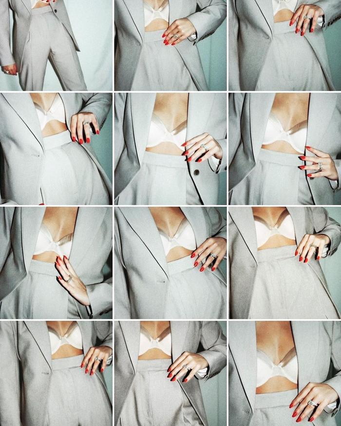 bra and blazer outfits: satin bra with grey suit
