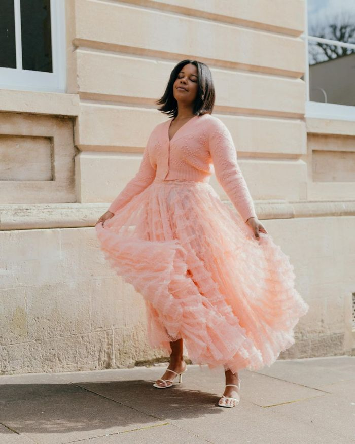 romantic fashion trends: pink tulle skirt and cardigan