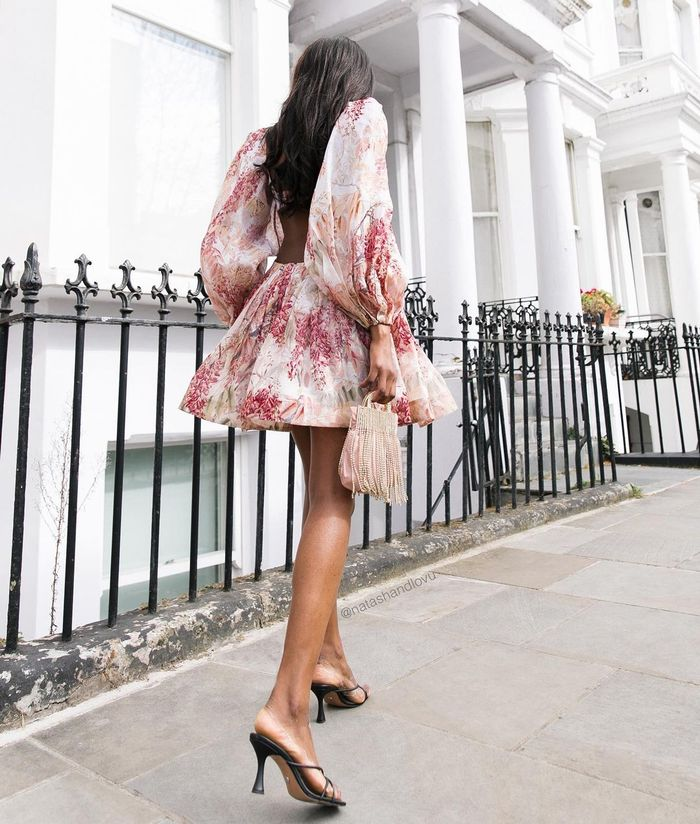 romantic fashion trends: floral mini dress