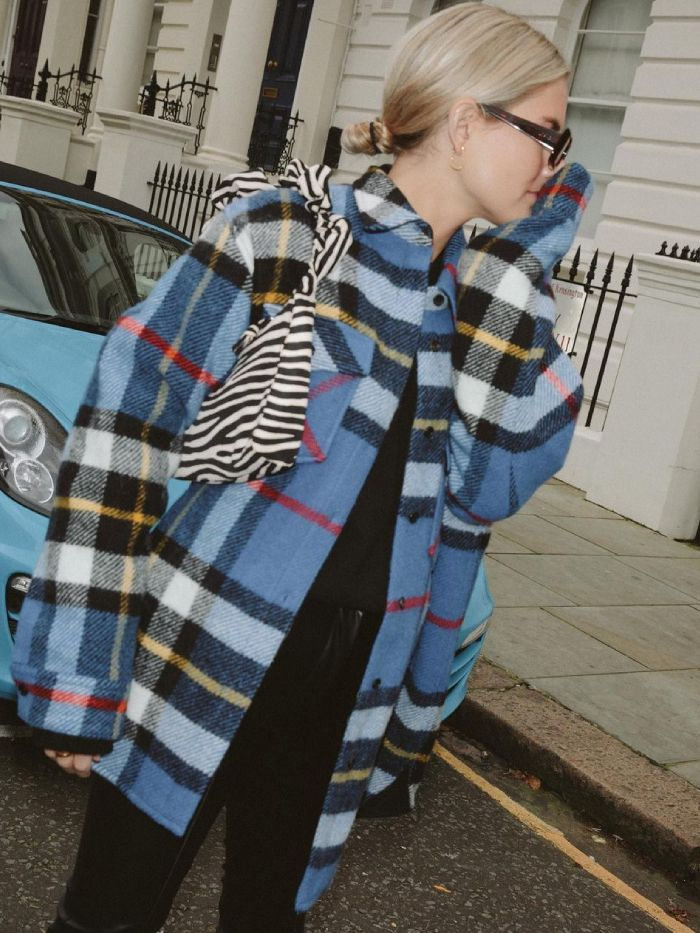 best zara shackets: Lucy Williams wearing a shacket in blue