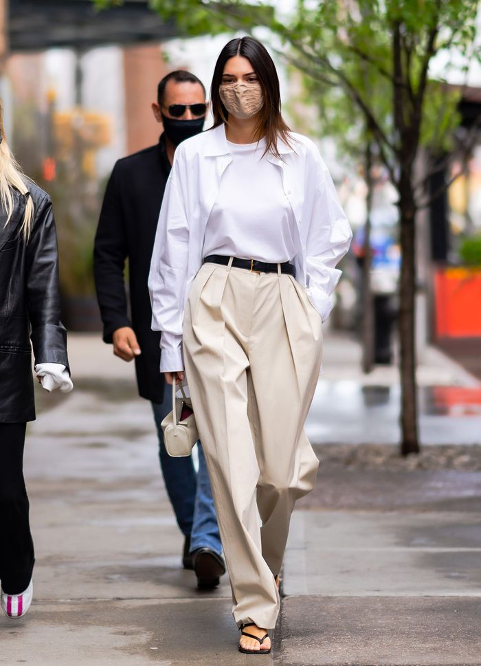 Kendall Jenner trouser outfits: The Row shirt and trousers