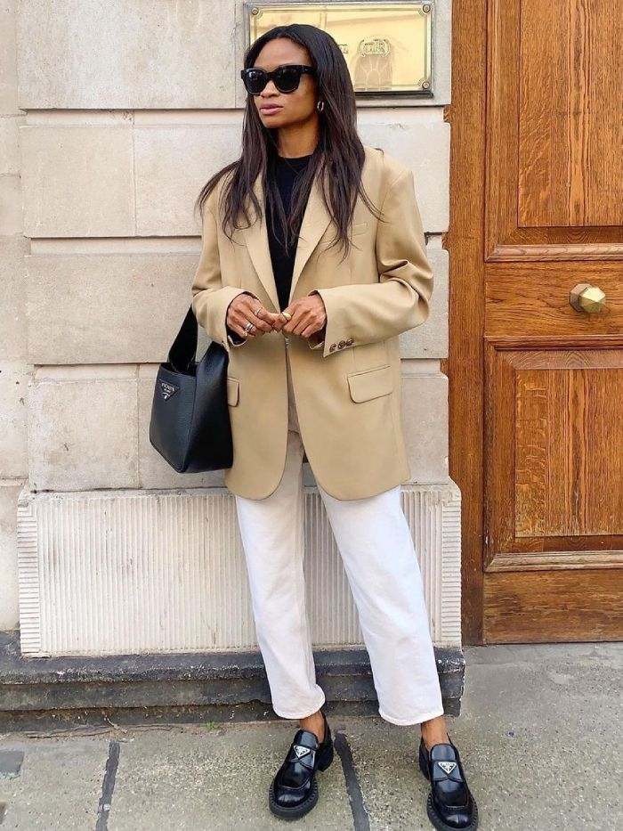 expensive-looking summer buys: lorna of symphony of silk wearing an arket blazer