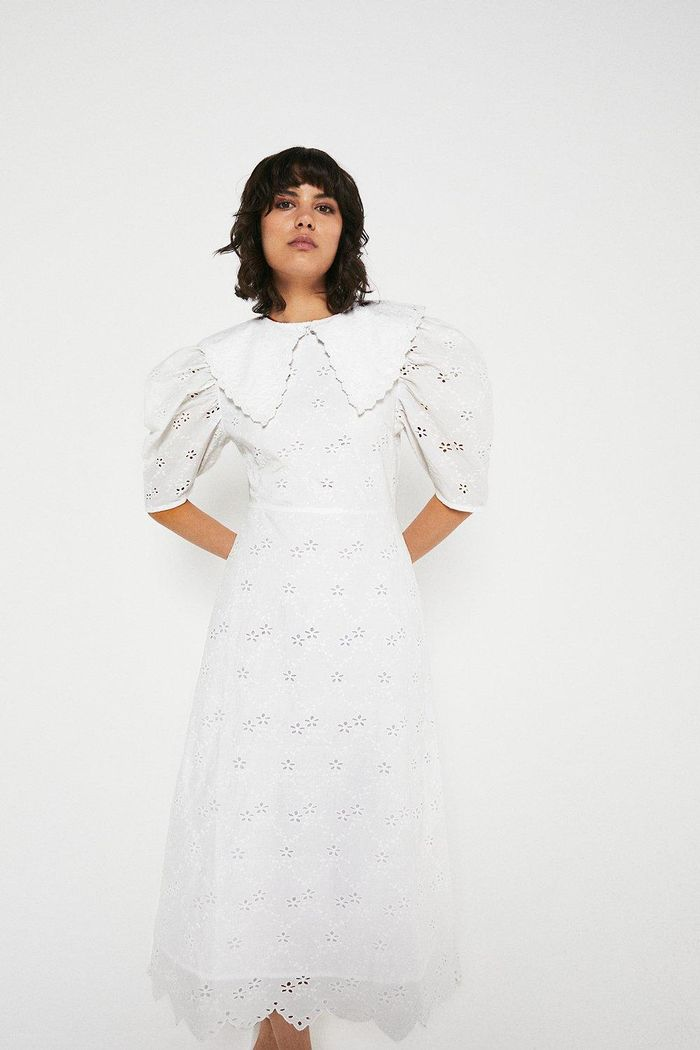 Warehouse Midi Dress in Broderie With Collar