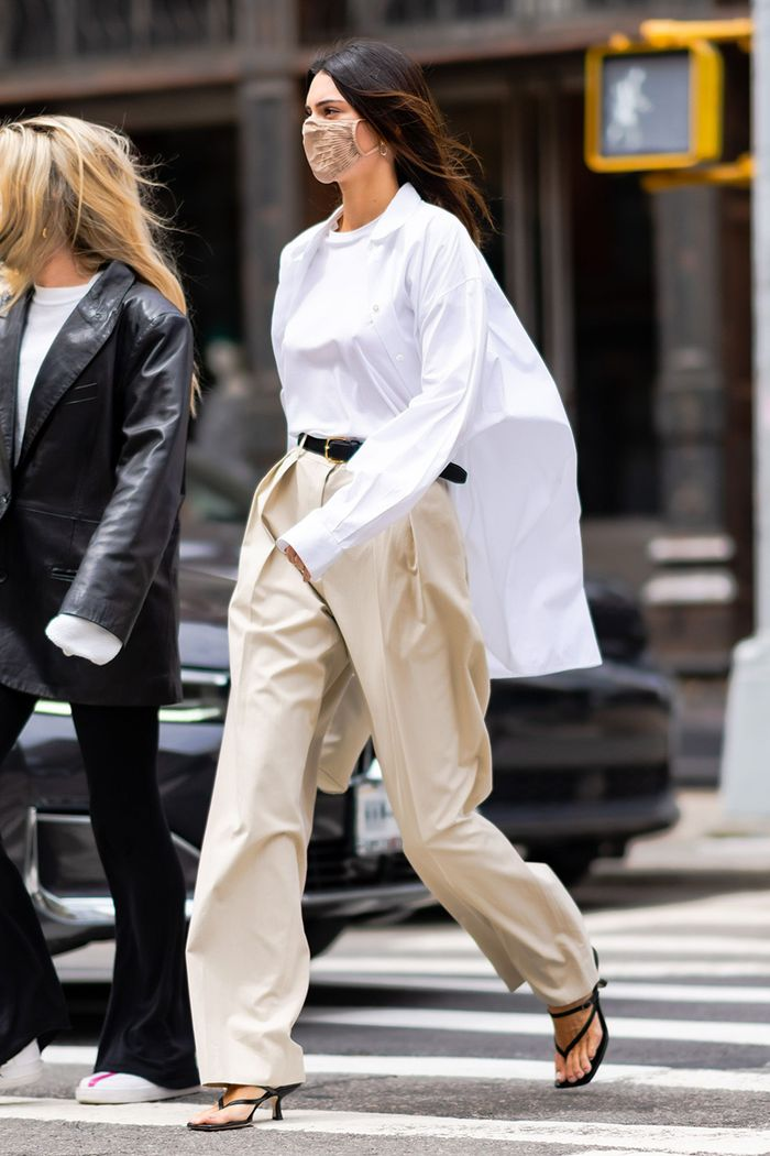Kendall Jenner pleated khaki pants