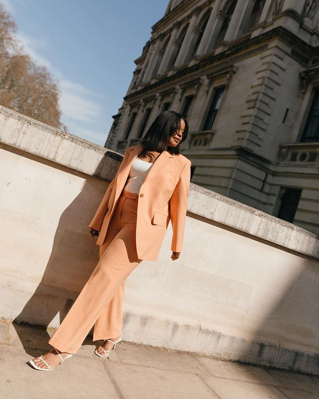 COS, Arket, H&M Summer Edit: Karina wears a suit from Arket.