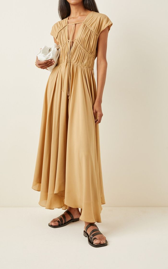 Tove Flores Pleated Georgette Silk Dress