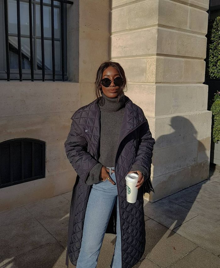 Best spring jackets and coats: Black quilted coat and jeans