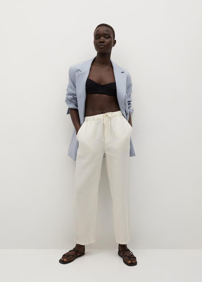 Mango 100% Linen Trousers