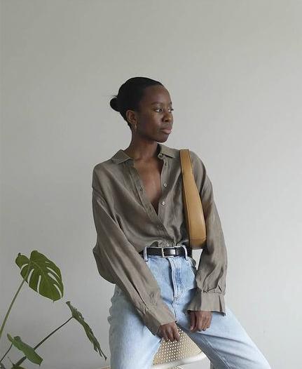 Linen Shirts for Women: @sylviemus_ wears a khaki linen shirt