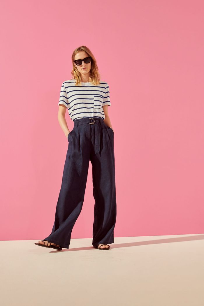 Marks & Spencer Summer Capsule: A striped top, wide-leg trousers, and flat sandals