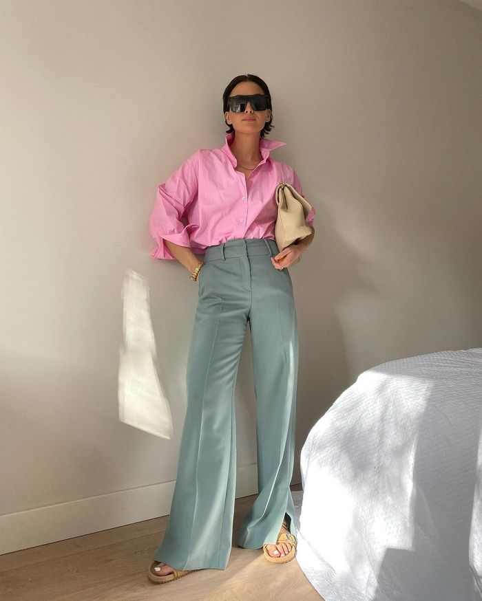 Bright pink shirts: Zara pink shirt with grey trousers