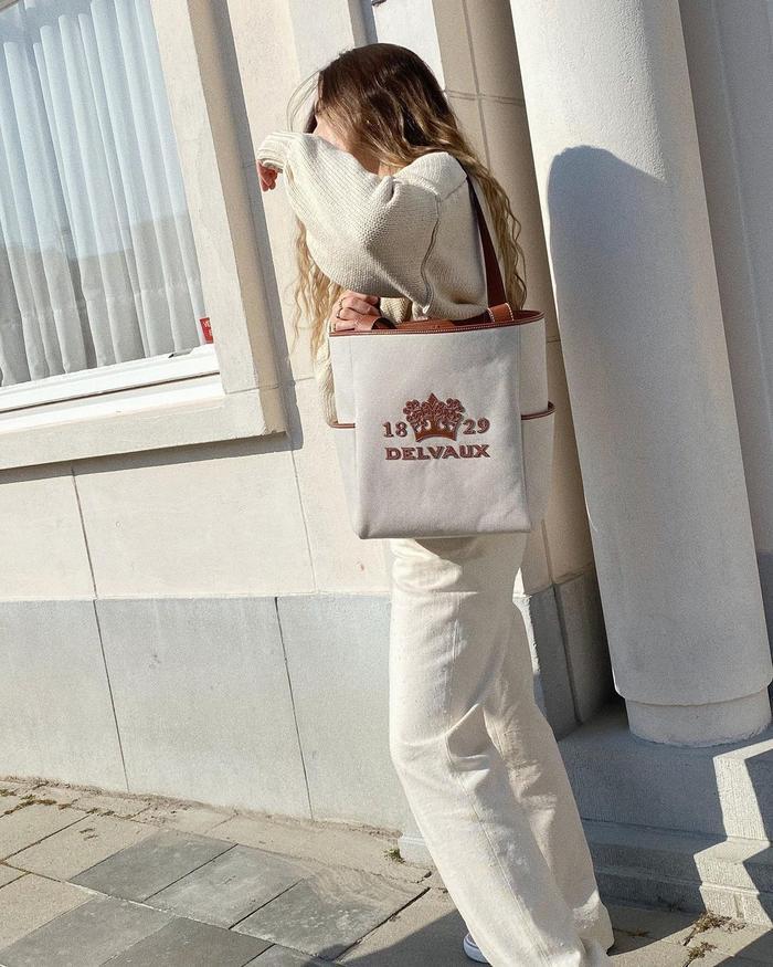 best designer canvas bags: Delvaux Delight tote