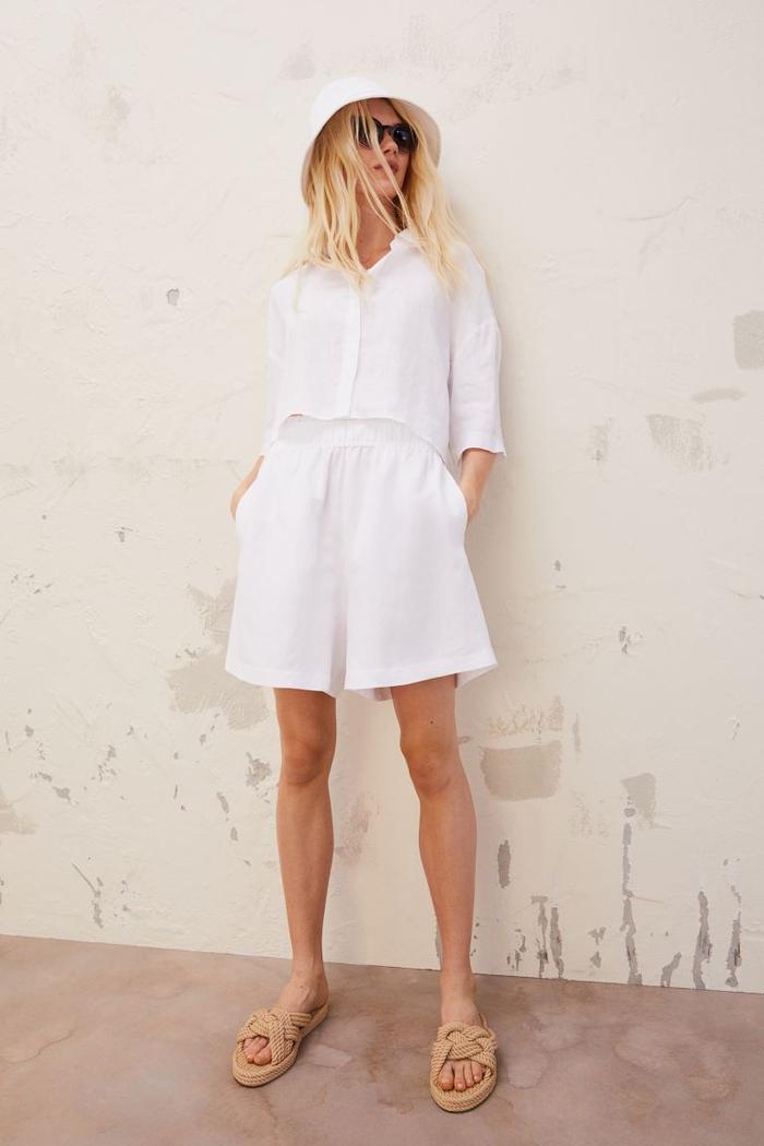 H&M Linen-Blend Pull-On Shorts
