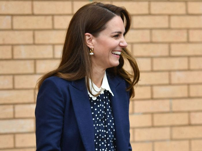 Kate Middleton wore trousers and a polka dot blouse