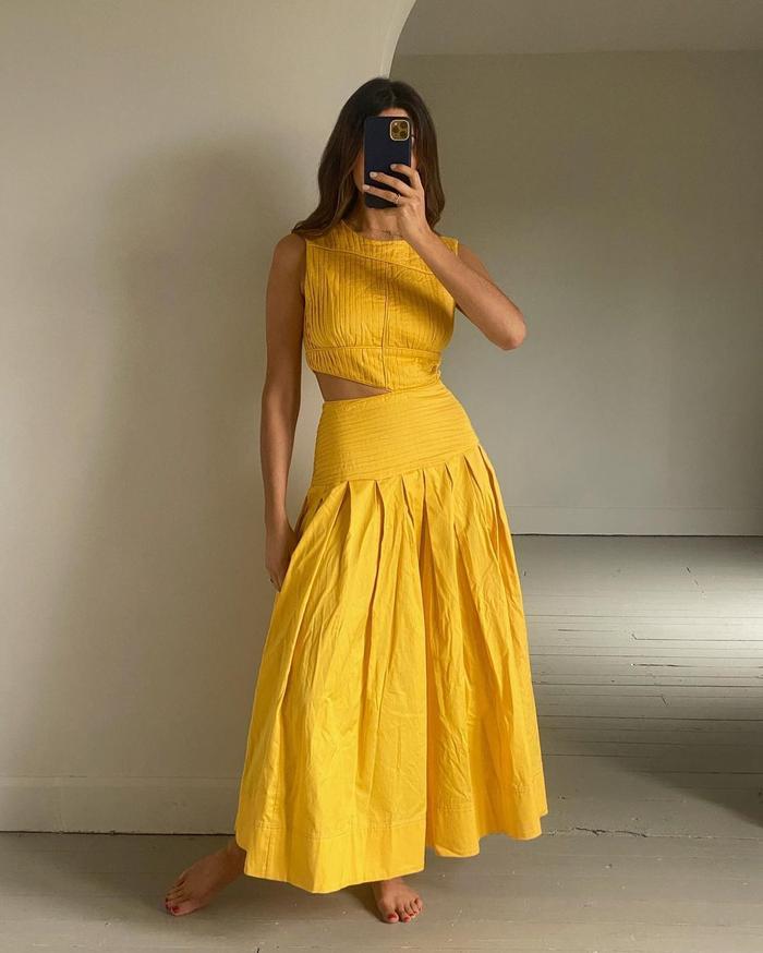Best dress brands: Aje yellow dress