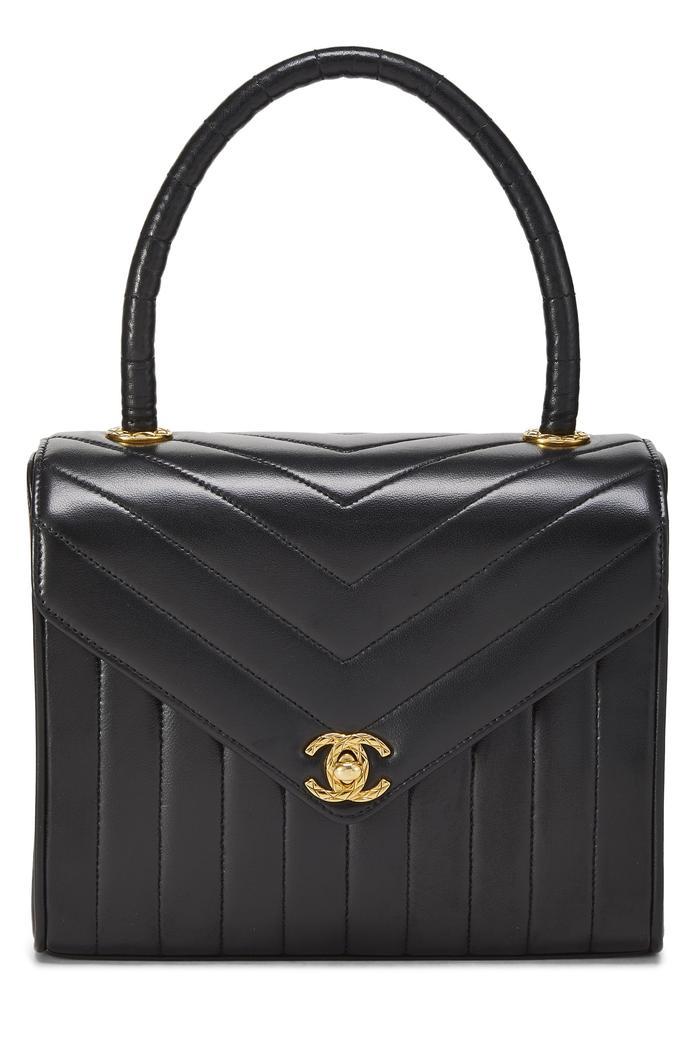 Chanel Black Chevron Lambskin Top Handle Bag Small