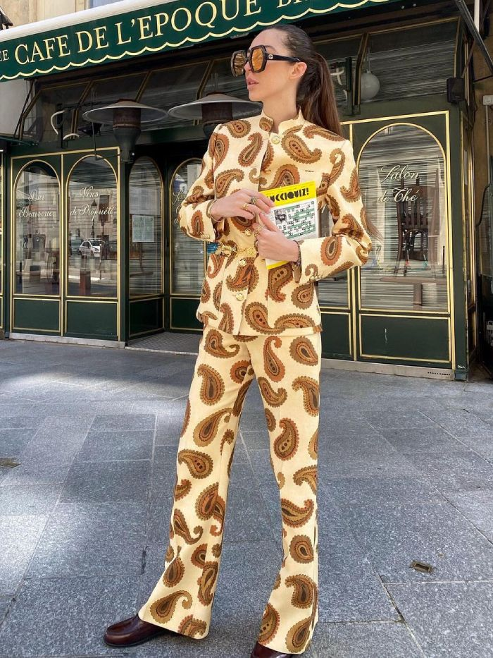 best printed co-ords: estelle chemouny wearing gucci