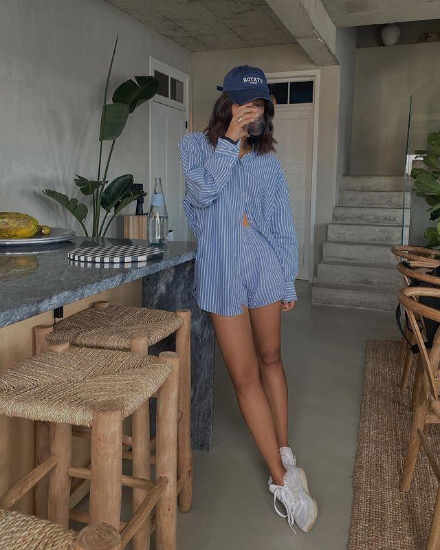 Cute Outfit Ideas: @deborabrosa wears a striped short and shirt set