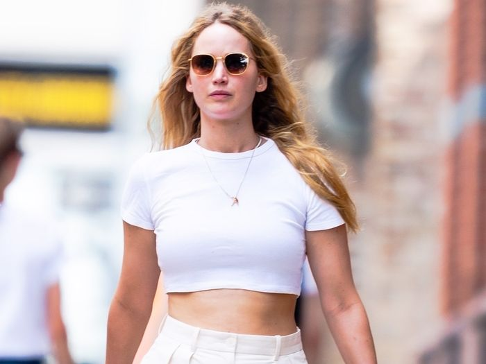 Jennifer Lawrence Wore the Most Low-Key Pants Trend Paired With a Crop Top