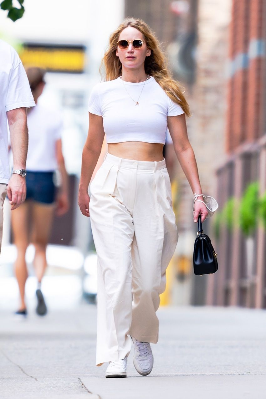 Jennifer Lawrence Wore the Most Low-Key Trouser Trend With a Crop Top