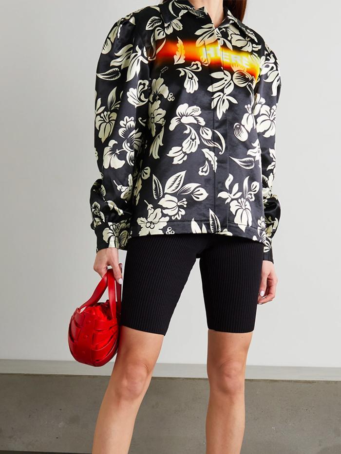 Meryll Rogge Floral-Print Satin Shirt