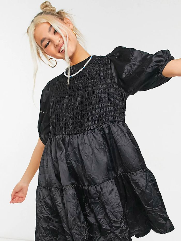 Collusion Crinkle Satin Tiered Dress