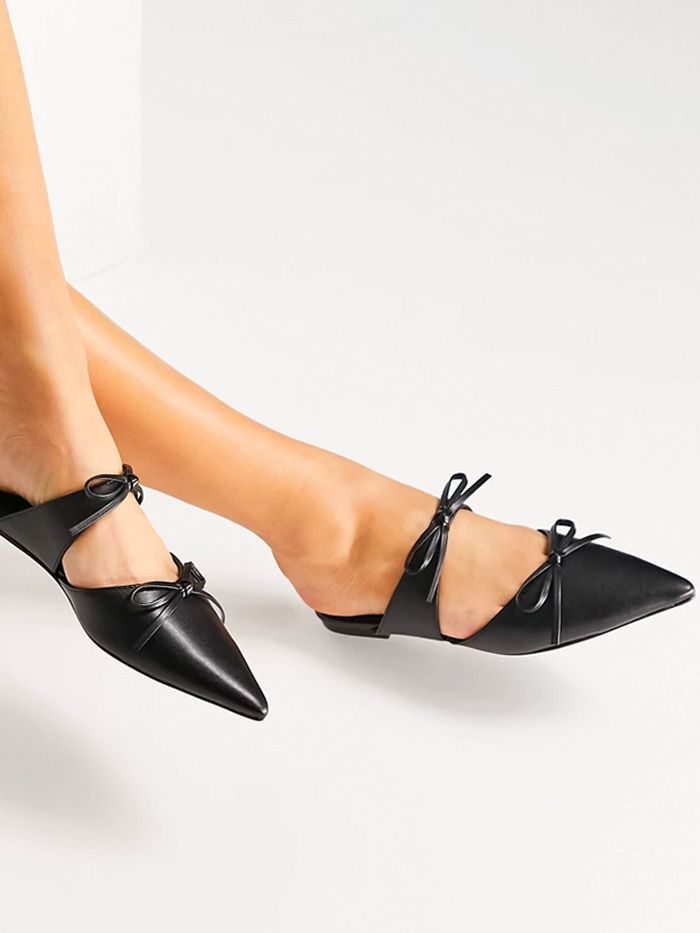 ASOS Design Latine Bow Pointed Ballet Mules