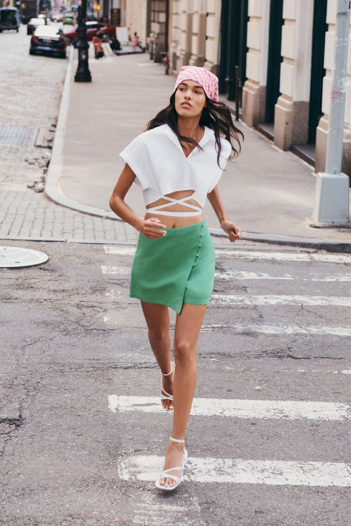 Zara Lined-Button Skort