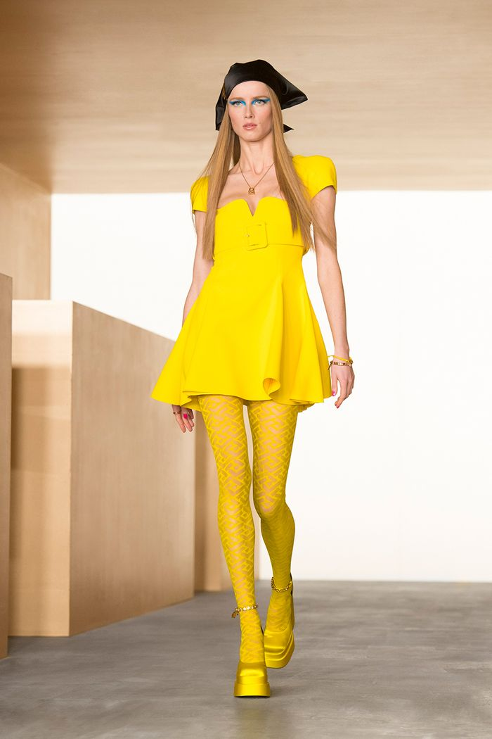 autumn winter 2021 colour fashion trends: yellow at Versace