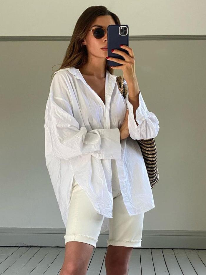 high-street summer essentials: smyth sisters in an arket shirt