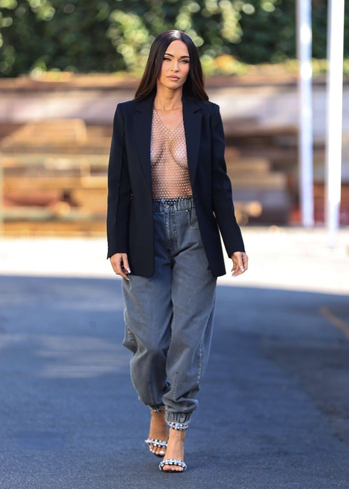 Megan Fox wore a see-through sequin sheer top