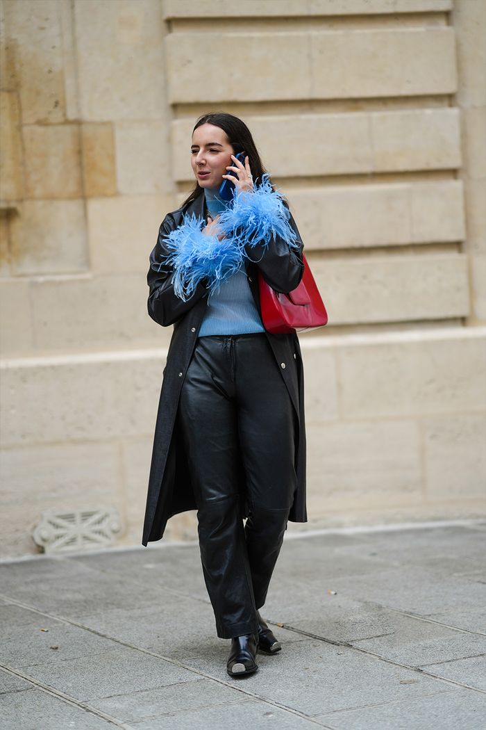 Paris fashion week mens June 2021 street style: feathers and leather