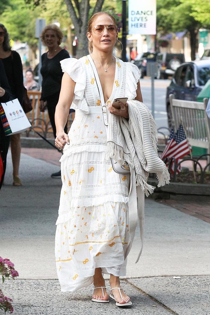 Jennifer Lopez white dress in The Hamptons