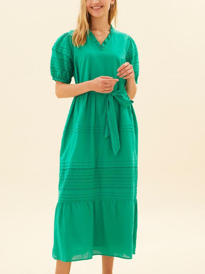 Per Una Pure Cotton Embroidered Midaxi Dress
